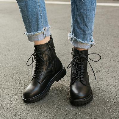 梵蒂加(VENTIGA)女靴AB-AI8-13299头层牛皮高端女鞋工装靴子高帮鞋马丁靴休闲皮鞋女学生短筒靴子机车靴