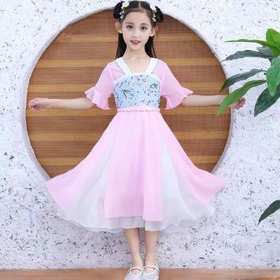 漠悠洛女童漢服唐裝2020新款夏裝連衣裙中國風裙子女孩夏季襦裙兒童古裝