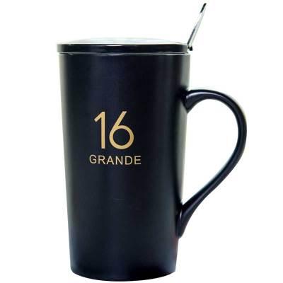 億嘉瓷魂 系列創意陶瓷馬克杯情侶咖啡杯牛奶杯帶蓋帶勺辦公杯水杯子