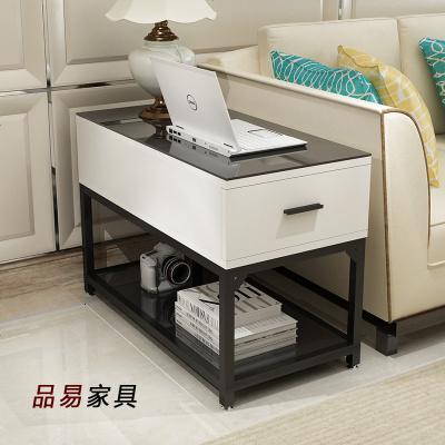 HOTBEE简约客厅小茶几茶桌沙发边柜边角几边角桌储物柜钢化玻璃扶手柜