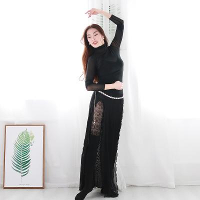 希子家2019新款肚皮舞练功服套装水纱长裙舞蹈练习服舞衣女
