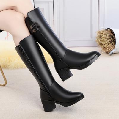 策霸2020新款加绒头层牛皮马丁靴女鞋 秋冬妈妈鞋保暖粗跟防滑高筒靴羊毛
