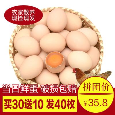 【买30送10共发40枚】正宗农家土鸡蛋40枚装 农家散养笨鸡蛋柴鸡蛋草鸡蛋 非鹌鹑蛋鸭蛋鹅蛋汇尔康,HR