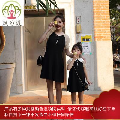 亲子装夏装洋气母女装泡泡袖黑色雪纺连衣裙礼服图片件数为展示