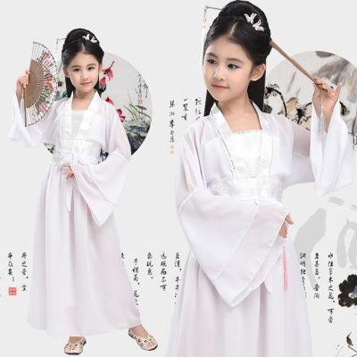 兮柔兒童古裝小七仙女超仙古裝衣服女孩古箏表演服古代3-15歲女童漢服