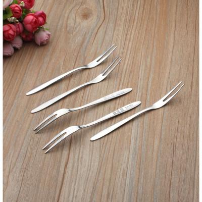 304不锈钢水果叉套装创意可爱水果签小号餐叉甜品叉 糖果叉月饼叉 5支304钢水果叉(精致款)