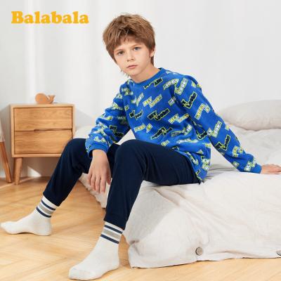 【1件5折】巴拉巴拉儿童睡衣秋冬季加厚款男孩女孩保暖加绒男女童家居服套装