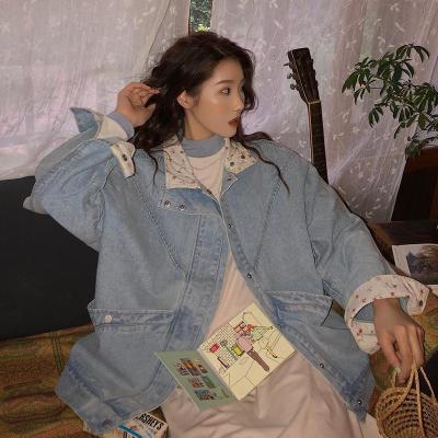 景逃逃碎花拼接牛仔外套女2020新款韓版復古寬松長袖牛仔夾克衫上衣
