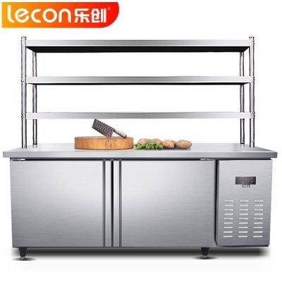 乐创(lecon)GZT086 冷冻工作台1800*800*800冷冻带三层层架433L卧式冷柜冰箱 厨房商用保鲜操作台