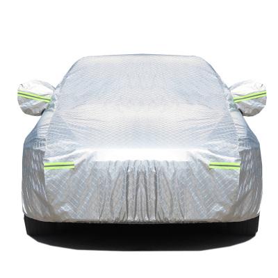 鋁膜棉絨加厚汽車車衣防曬遮陽車罩 防曬 防雨 四季通用 鋁箔遮陽擋套裝 汽車遮陽