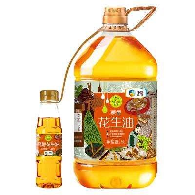 中粮 初萃(CHUCUI) 压榨一级原香花生油5L +220ml捆绑装 传统烤香 物理压榨 桶装粮油 食用油