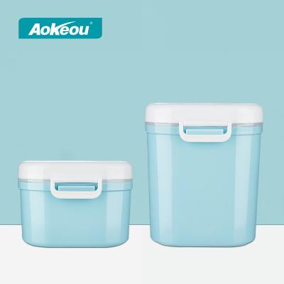 宝宝零食盒便携式外出奶粉盒迷你小号分装奶粉格 蓝色一大一小组合2个装