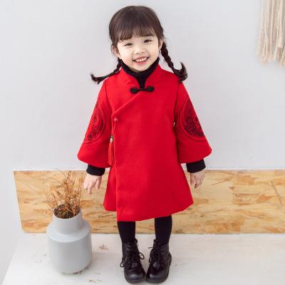 561294f6532 女童唐装拜年服秋冬中国风儿童旗袍宝宝过年新衣唐装连衣裙喜庆