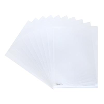 得力(deli)5700透明文件文件套A4插页L型文件夹单页夹办公资料收纳简历夹经济款磨砂文件套100个/包 单包
