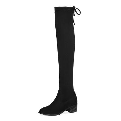 SZC-水之彩粗跟长筒靴女2019秋冬新款中跟过膝长靴骑士靴加绒女靴子中长款女士长靴