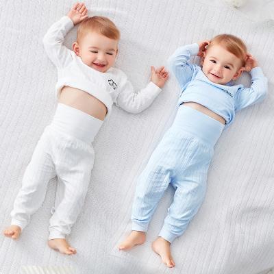 嬰兒睡衣服薄款女寶寶男純棉提花長袖套裝秋衣秋褲分體幼兒童內衣四季