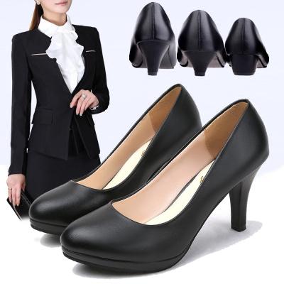 舒適正裝禮儀面試職業鞋高跟鞋黑色女鞋2019春夏季單鞋淺口工作鞋子
