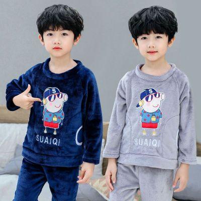 儿童睡衣秋冬季加厚保暖珊瑚绒睡衣男女中大小童法兰绒家居服套装纤婗(QIANNI)