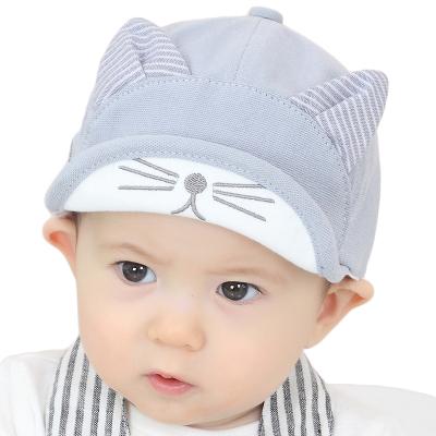 milky friends 新款春秋寶寶貓耳朵棒球帽男女通用童翻邊鴨舌帽1-2歲兒童帽子
