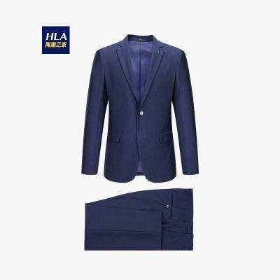 HLA海瀾之家男裝紋理細膩修身仿毛套裝2019秋季挺括套西男HTXAD3R056A