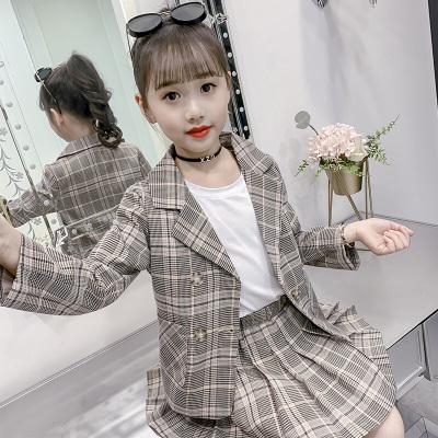 MinanSer 女童套裝2020秋季新款兒童韓版西服外套兩件套中大童女孩洋氣套裙秋季新款