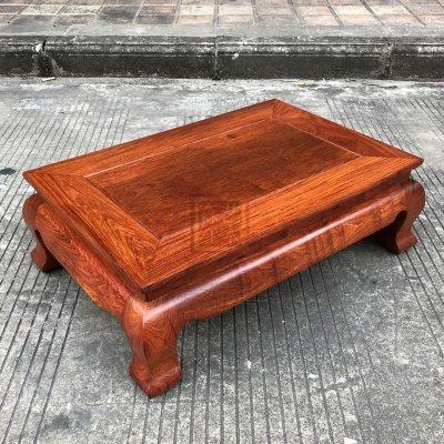 红木炕几 缅甸花梨木素面炕几 大果紫檀长方形坑几/底座实木家具