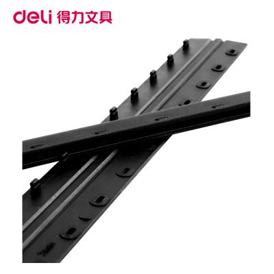 得力(deli)3824 3mm裝訂夾條黑色100支/盒 10孔裝訂夾 裝訂押條 壓邊條膠圈裝訂夾邊條塑料夾條