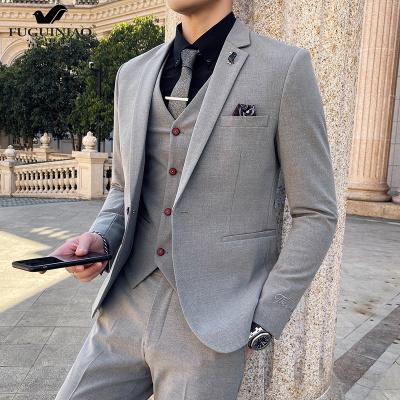 富貴鳥(FUGUINIAO)西服套裝男士三件套修身職業上班正裝伴郎團新郎結婚禮服西裝服裝