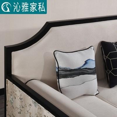 新中式沙發現代客廳簡約售樓處整裝實木布藝沙發組合中式家具定制定制!