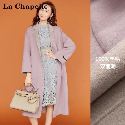 拉夏貝爾CANDIE'S秋冬韓版顯瘦中長款雙面毛呢大衣女30074188