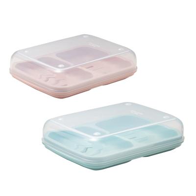 茶花雙格肥皂盒帶蓋大號家用瀝水創意學生宿舍便攜洗衣雙層香皂盒