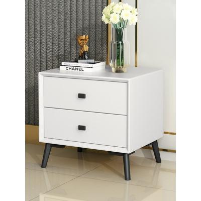 皮質床頭柜簡約現代輕奢北歐式軟包白實木迷你小臥室床邊儲物角柜