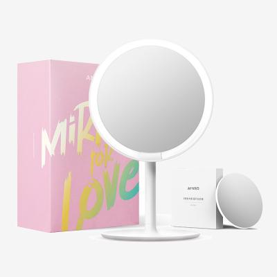 AMIRO mini便攜版高清真彩日光化妝鏡放大鏡套裝 輕簡白