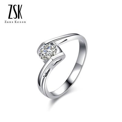 ZSK珠寶 鉆石戒指女 天使之戀白18K金鉆石女戒訂結婚鉆石戒指求婚鉆戒鉆石約5分送戀人 女友老婆紀念禮物珠寶首飾 定價
