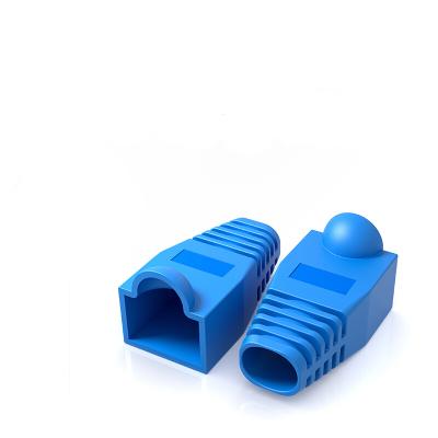 山澤PT-01優質環保網絡RJ45水晶頭保護套100個/袋藍色單位:袋