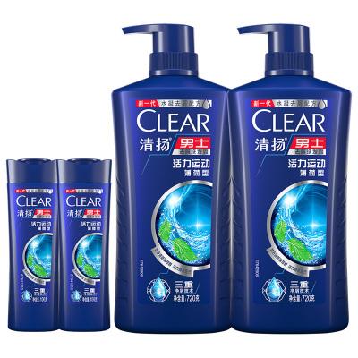 清揚(CLEAR)男士去屑控油洗發露 活力運動薄荷型套裝 720g×2瓶洗發液+100g×2瓶洗發乳(新老包裝隨機發貨)