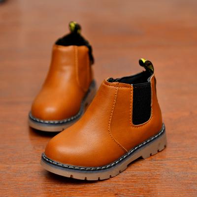 迈凯恩品牌儿童鞋韩版女童加绒马丁靴2019春秋男童低筒短靴时装皮靴复古棉靴