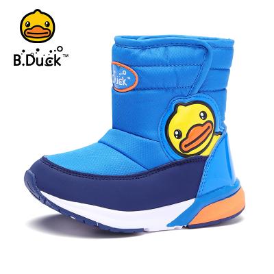 B.Duck小黃鴨童鞋男女童雪地靴2019冬季新款兒童加絨保暖棉靴男孩潮