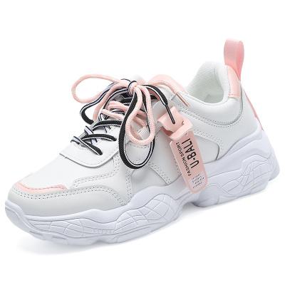 TBA 2019冬季女鞋老爹鞋防水皮面透气休闲鞋平底小白鞋女学生平跟轻便舒适跑步鞋运动鞋