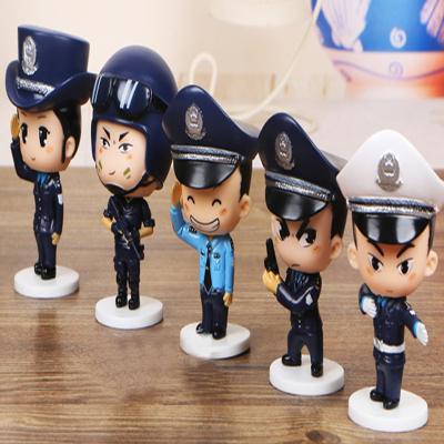警察Police手辦車載卡通人偶汽車公仔擺件特警系列警察公仔玩偶模型桌面擺件