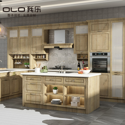 我乐厨柜 美式风格文图拉 橱柜定做整体厨房定制 家用石英石台面