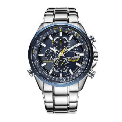 西鐵城網紅藍天使商務潮流光動能多局電波鋼帶男手表AT8020-54L