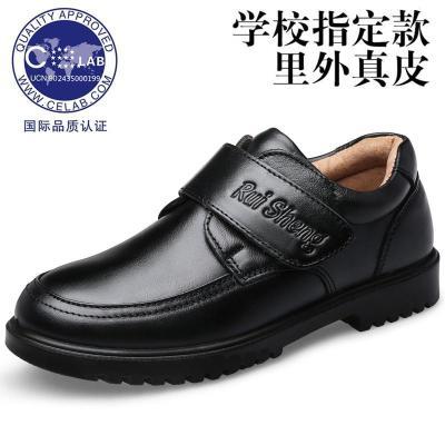 深圳校园定制儿童皮鞋男童学生黑皮鞋休闲中大童真皮皮鞋软底软皮 莎丞