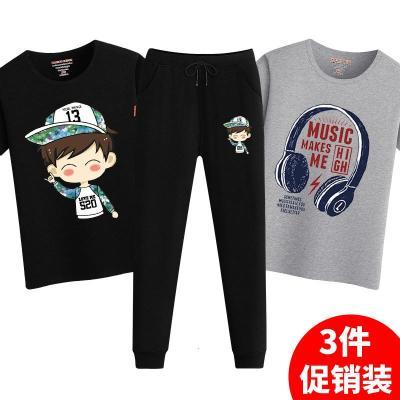 男童夏季套装新款短袖童装儿童T恤长裤中大童运动打底衫