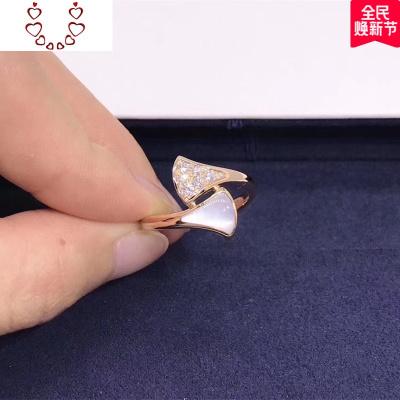 S925純銀扇形小裙子戒指女白貝母紅瑪瑙扇子尾戒開口指環網紅潮人 Chunmi