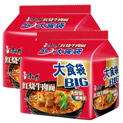 康師傅五連包2份 大食袋紅燒牛肉面 145g*10袋 方便面泡面