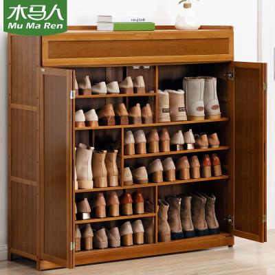 木馬人 帶門簡易多功能大鞋柜客廳玄關柜子多層木質北歐小鞋架簡約家用楠竹換鞋凳防塵鞋架子多容量鞋凳置物架