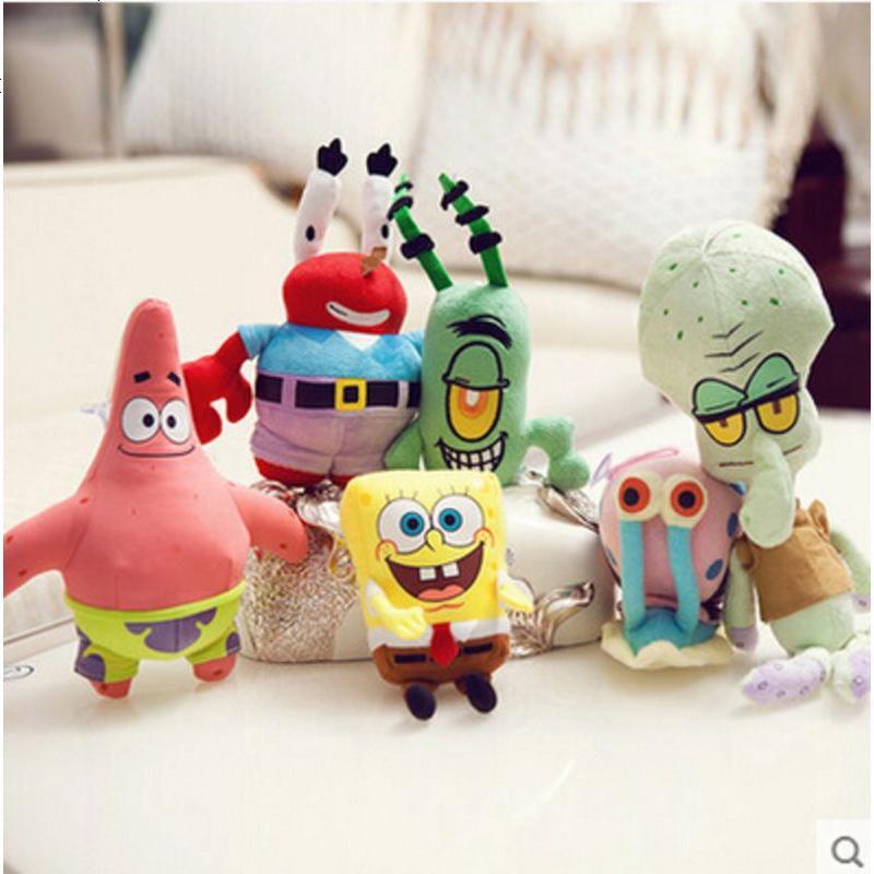 创意海绵宝宝派大星一套小公仔 一家全套玩偶毛绒玩具 婚庆礼品