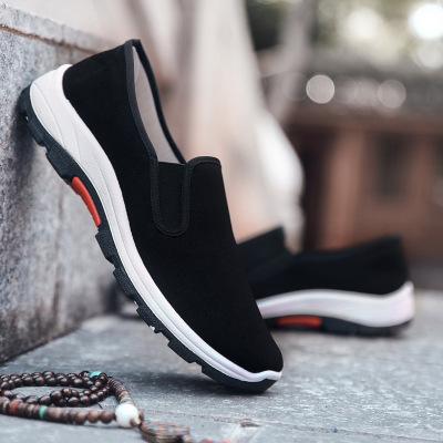新款老北京布鞋男鞋輕便防滑耐磨軟底工作鞋黑色布鞋登山鞋休閑鞋 纖婗(QIANNI)