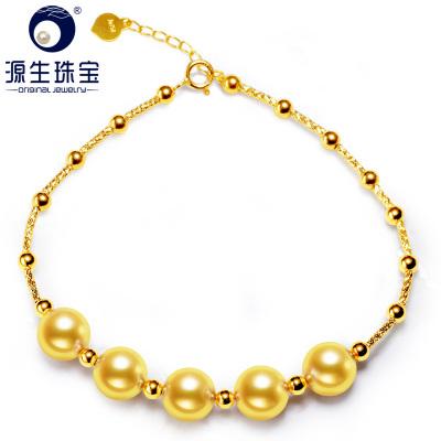 源生珠宝 语琴 18K金海水珍珠手链女款时尚珍珠手圈 金珠 17cm
